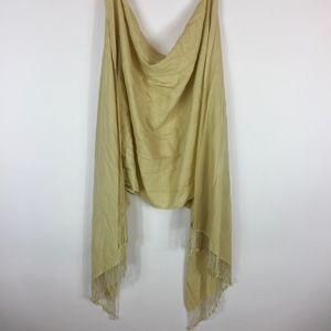 Himalaya Pashmina Scarf Yellow Gold Beaded Silk